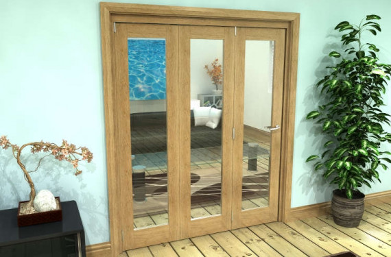 Glazed Oak Prefinished 3 Door Roomfold Grande 1800mm (6ft) Set