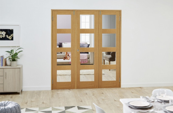 Glazed Oak Prefinished 3 Door Shaker 4l Frenchfold 6ft (1800mm) Set