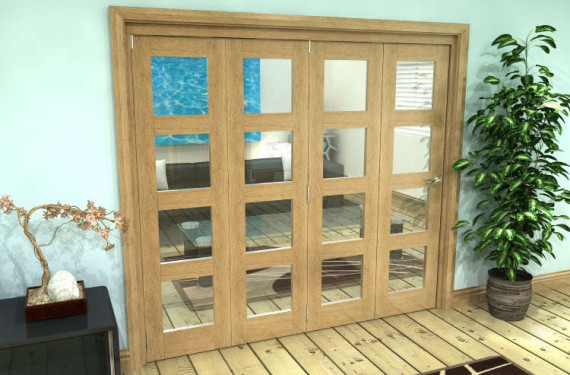 Glazed Oak Prefinished 4 Door 4l Roomfold Grande 2400mm (8ft) 4 + 0 Set