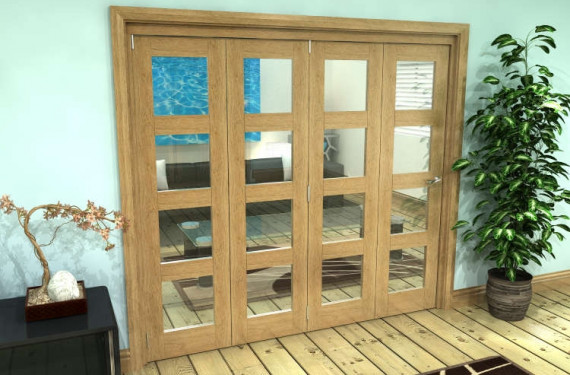 Glazed Oak Prefinished 4 Door 4l Roomfold Grande (4 + 0 X 533mm Doors)