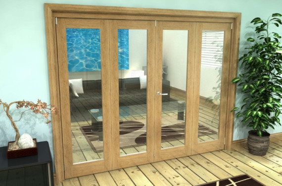 Glazed Oak Prefinished 4 Door Roomfold Grande (2 + 2 X 610mm Doors)