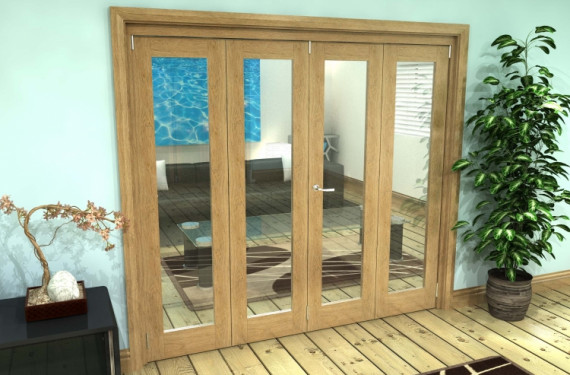 Glazed Oak Prefinished 4 Door Roomfold Grande 2400mm (8ft) 2 + 2 Set