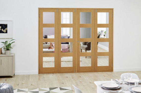 Glazed Oak Prefinished 4 Door Shaker 4l Frenchfold ( 4 X 1'9