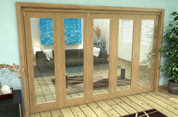 Glazed Oak Prefinished 5 Door Roomfold Grande (5 + 0 X 610mm Doors)