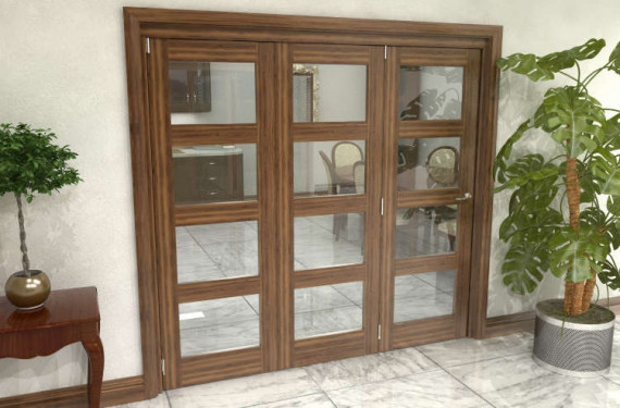 Glazed Walnut Prefinished 3 Door 4l Roomfold Grande (3 + 0 X 686mm Doors)