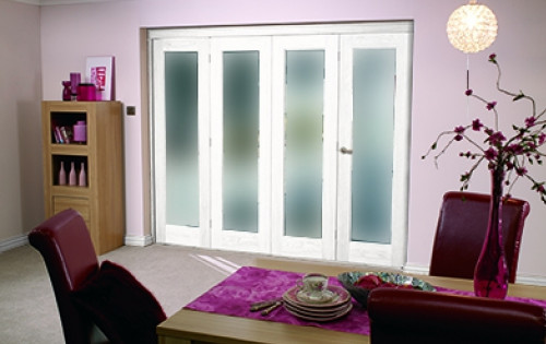 Glazed White P10 Roomfold - Frosted Glass