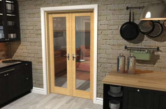 Oak Prefinished French Door Set  - 22.5