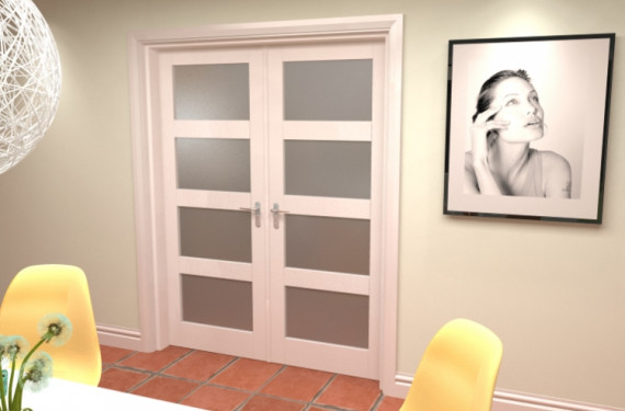 4l Frosted White French Door Set  - 24