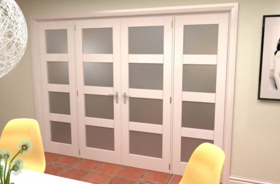 4l Frosted White French Door Set - 27