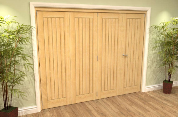 Mexicano Oak 4 Door Roomfold Grande (3 + 1 X 610mm Doors)