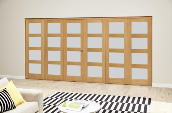 Oak 4l Shaker Glazed Roomfold Deluxe (3 + 3 X 610mm Doors)