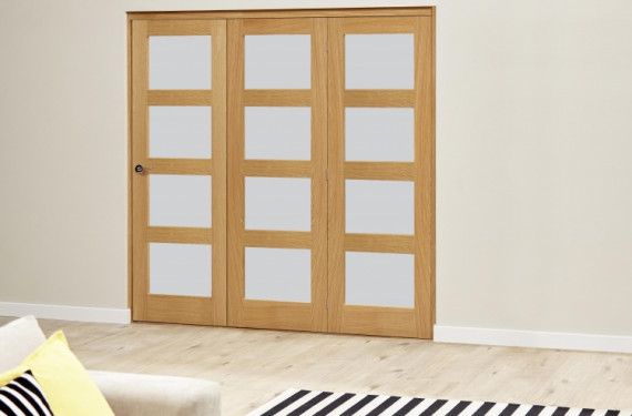 Oak 4l Shaker Glazed Roomfold Deluxe (3 X 533mm Doors)