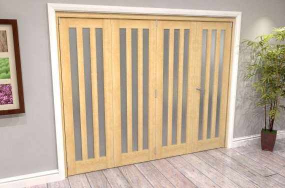 Oak Aston Frosted Glazed 4 Door Roomfold Grande (3 + 1 X 610mm Doors)