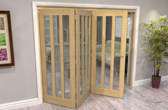 Oak Aston Glazed 3 Door Roomfold Grande (3 + 0 X 762mm Doors)