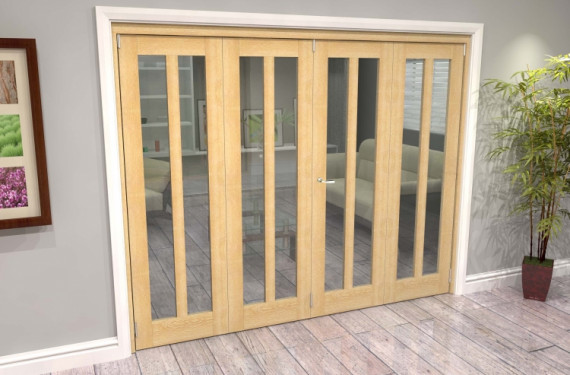 Oak Aston Glazed 4 Door Roomfold Grande (2 + 2 X 610mm Doors)