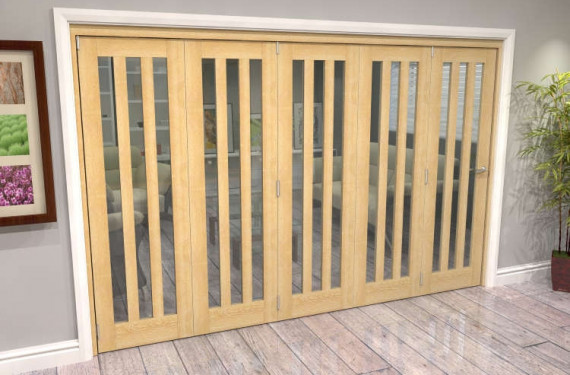 Oak Aston Glazed 5 Door Roomfold Grande (5 + 0 X 686mm Doors)