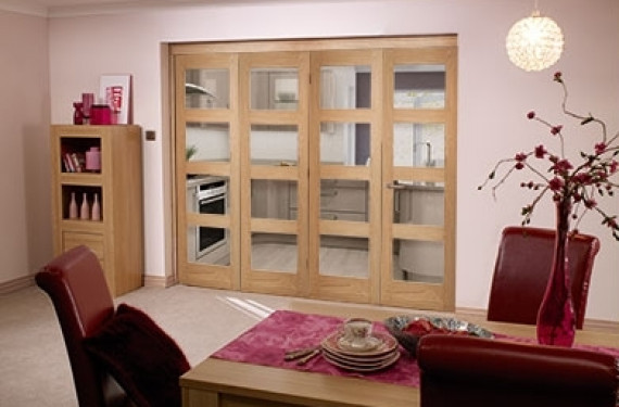 Oak Prefinished 4 Light Bifold Door ( 4 X 2'0