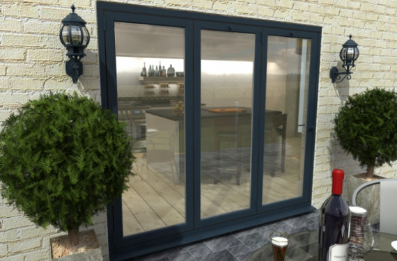 Part Q 2400mm Grey Aluminium Bifold Doors - Climadoor