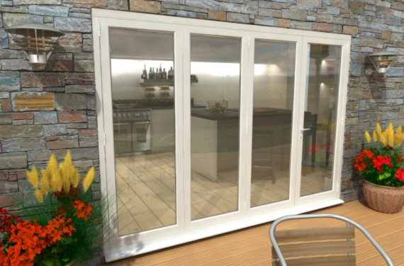 Part Q 3000mm ( 3 + 1 ) White Aluminium Bifold Doors - Climadoor