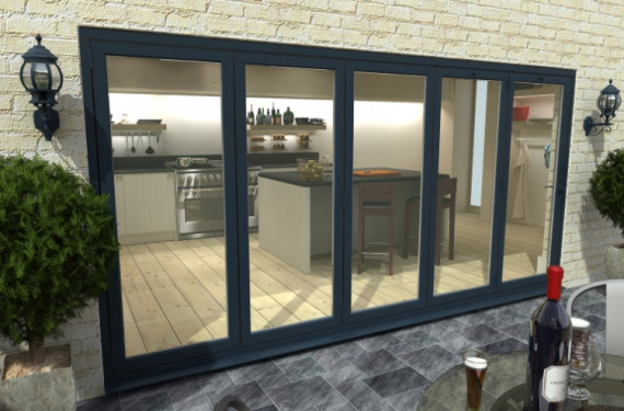 Part Q 4800mm ( 5 + 0 ) Grey Aluminium Bifold Doors - Climadoor