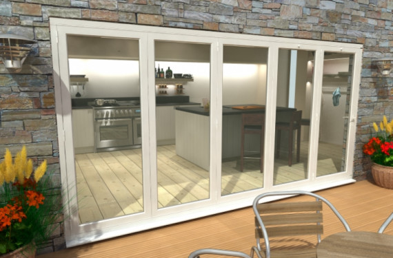 Part Q 4800mm ( 5 + 0 ) White Aluminium Bifold Doors - Climadoor