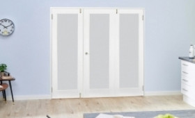 Frosted Glazed White Primed Shaker 3 Door Frenchfold 1800mm ( 6ft ) Set Image