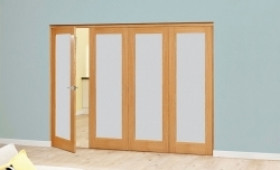 Frosted Glazed Oak - 4 Door Roomfold Deluxe 2370mm X 2078mm (2400mm Set) Image