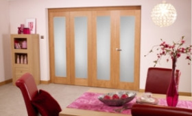 Frosted Glazed Oak - 4 Door Roomfold (2400mm - 8ft Set) Image