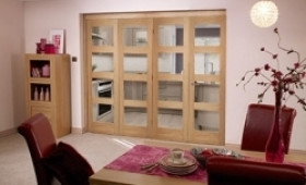 Oak Prefinished 4 Light Bifold Door (2400mm - 8ft) Set Image