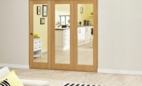 Glazed Oak - 3 Door Roomfold Deluxe ( 3 X 573mm Doors 1800mm Set ) Image