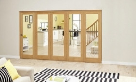 Glazed Oak - 5 Door Roomfold Deluxe ( 5 X 573mm Doors 3000mm Set ) Image