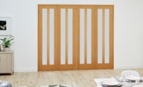 Aston Oak Frenchfold Room Divider - Frosted Image