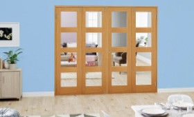 Clear Glazed Oak Unfinished 4l 4 Door Shaker Frenchfold (4 X 1