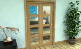 Glazed Oak Prefinished 2 Door 4l Roomfold Grande (2 + 0 X 573mm Doors) Image