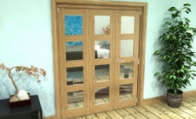 Glazed Oak Prefinished 3 Door 4l Roomfold Grande (2 + 1 X 533mm Doors) Image