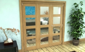 Glazed Oak Prefinished 3 Door 4l Roomfold Grande (2 + 1 X 686mm Doors) Image