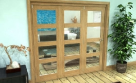 Glazed Oak Prefinished 3 Door 4l Roomfold Grande 1800mm (6ft) Set Image