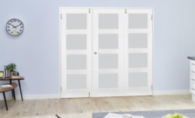 Frosted Glass White Primed Shaker Frenchfold 4l  6ft (1800mm) Set Image