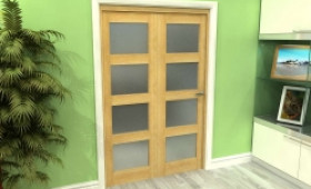 Frosted Glazed Oak 2 Door 4l Roomfold Grande (2 + 0 X 610mm Doors) Image