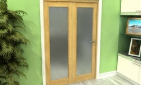 Frosted Glazed Oak 2 Door Roomfold Grande (2 + 0 X 686mm Doors) Image