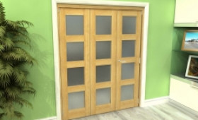 Frosted Glazed Oak 3 Door 4l Roomfold Grande 1800mm (6ft) 2 + 1 Set Image