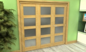 Frosted Glazed Oak 3 Door 4l Roomfold Grande (2 + 1 X 686mm Doors) Image