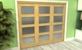 Frosted Glazed Oak 3 Door 4l Roomfold Grande (2 + 1 X 762mm Doors) Image