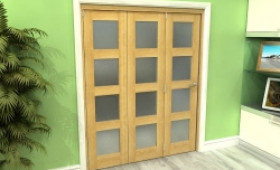 Frosted Glazed Oak 3 Door 4l Roomfold Grande (3 + 0 X 533mm Doors) Image