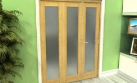 Frosted Glazed Oak 3 Door Roomfold Grande 1800mm (6ft) 2 + 1 Set Image