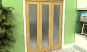 Frosted Glazed Oak 3 Door Roomfold Grande (2 + 1 X 533mm Doors) Image