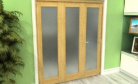 Frosted Glazed Oak 3 Door Roomfold Grande (2 + 1 X 610mm Doors) Image