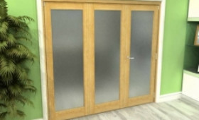 Frosted Glazed Oak 3 Door Roomfold Grande (2 + 1 X 762mm Doors) Image