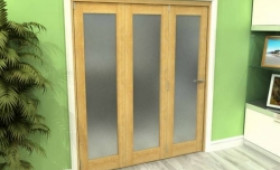 Frosted Glazed Oak 3 Door Roomfold Grande (3 + 0 X 686mm Doors) Image