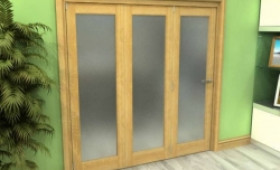 Frosted Glazed Oak 3 Door Roomfold Grande (3 + 0 X 762mm Doors) Image